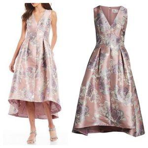NWT Eliza J Floral Jacquard Hi Low Gown. Size 8